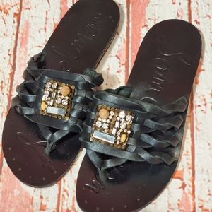 Sam Edelmans Bryce Leather Sandals 7 Bejeweled